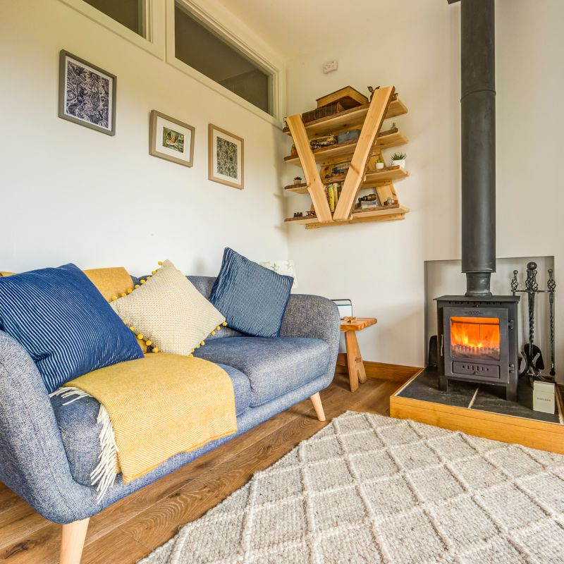 Lounge with Wood Burner | The Nest | Glamping Cabin in the Forest of Dean